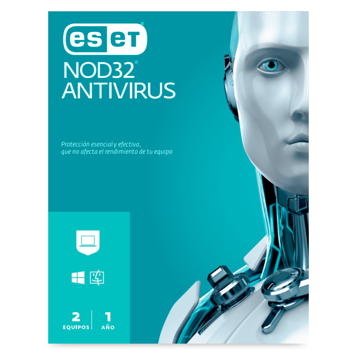 ESET NOD32 ANTIVIRUS 1 AÑO 2PC